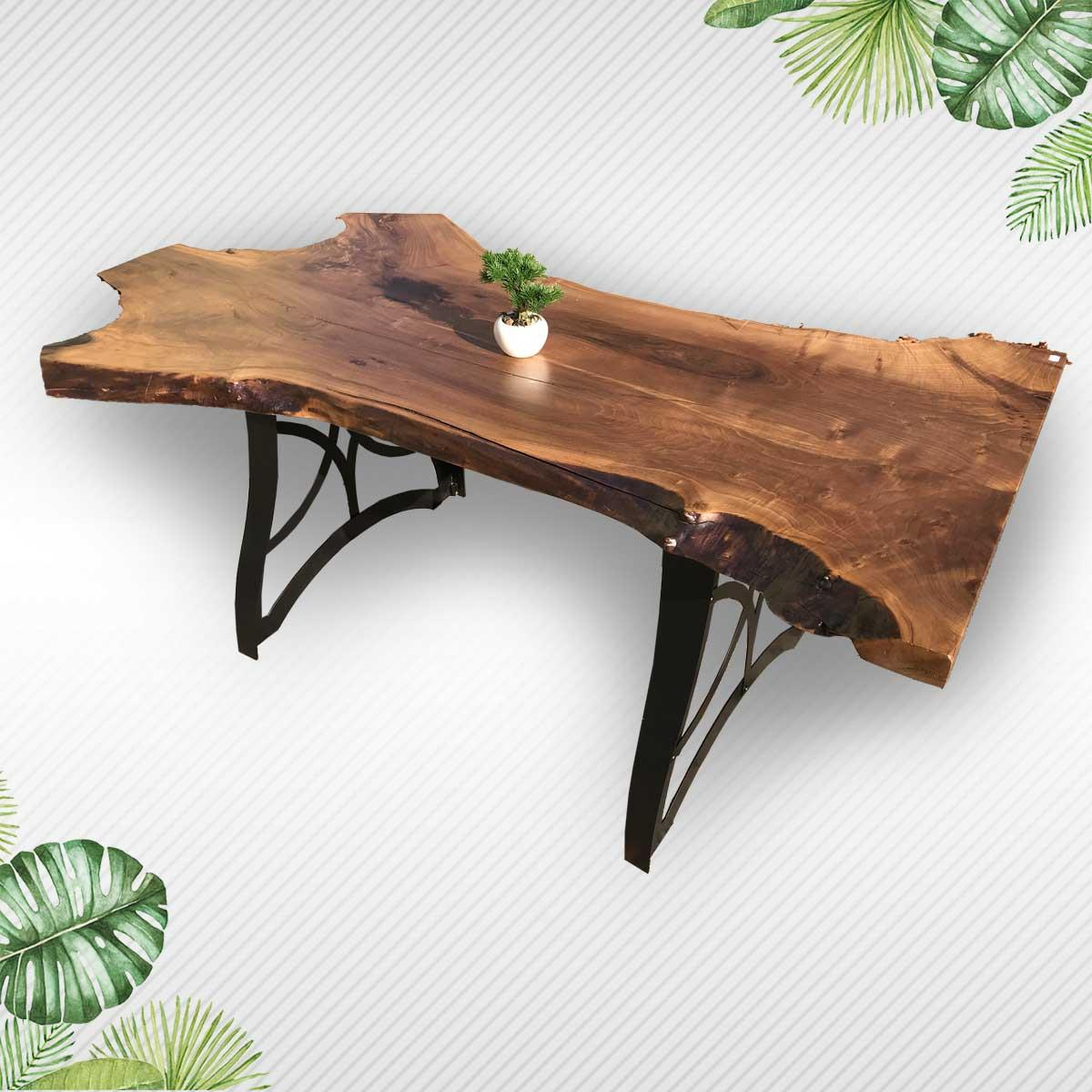 Natural Edge Walnut Wood Table